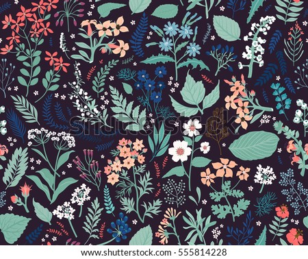 Hand Drawn Floral Pattern Seamless Vector Texture Elegant Template For Fashion Prints Surface