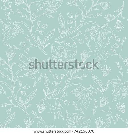 Hand drawn floral seamless pattern. Vintage background.