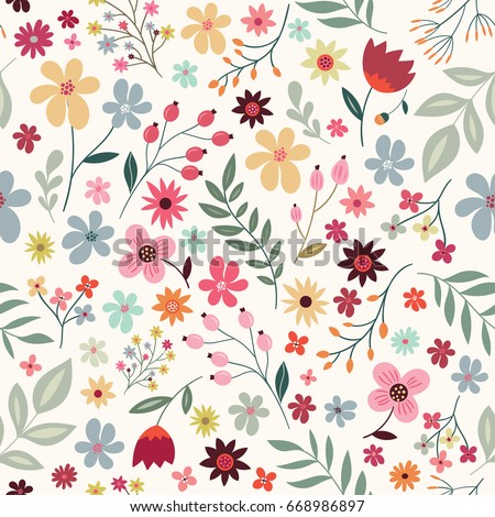 Hand drawn floral seamless pattern with colorful flowers on white background