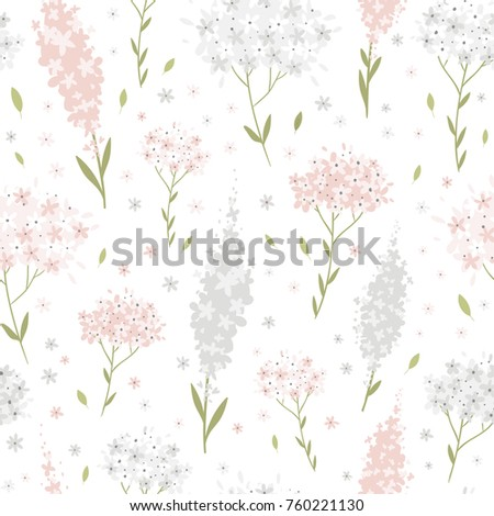 Hand drawn floral Spring seamless pattern with flower bouquets, branches and leaves. Vector illustration background in soft pastel pink and blue  colors