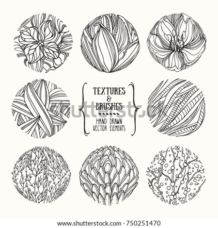 Hand drawn floral textures made with ink. Artistic collection for label, logo, poster, invitation, banner design template. Flower drawings, organic background, geometric pattern. Isolated vector set.