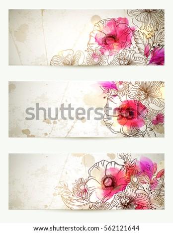 hand drawn floral vintage