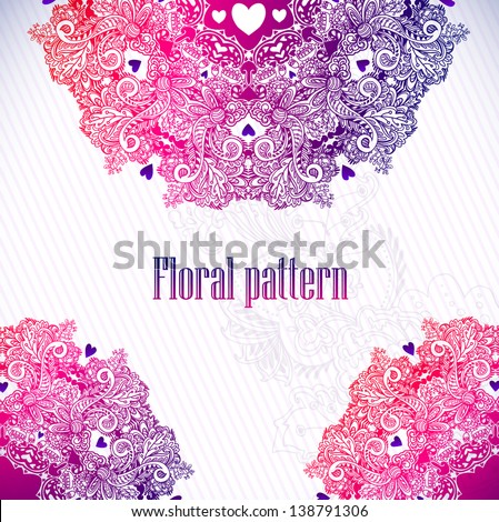 Hand Drawn floral vintage ornaments with flowers. vector  background
