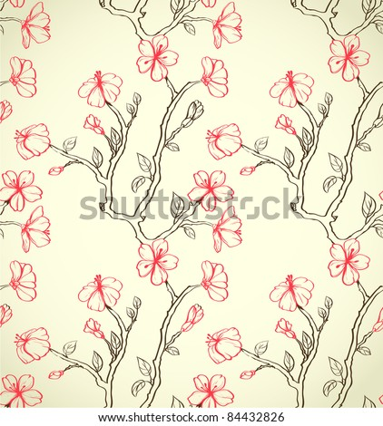 Hand drawn floral wallpaper. Could be used as seamless wallpaper, textile, wrapping paper or background
