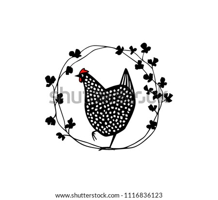 Hand drawn floral wreath with speckled hen made in vector. Beautiful floral design elements, ink drawing, logo template