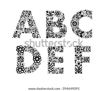 Hand Drawn Flower Alphabet Decorative Typography Font Trend Lettering A