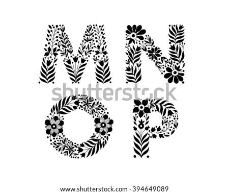 Hand Drawn Flower Alphabet Decorative Typography Font Trend Lettering M