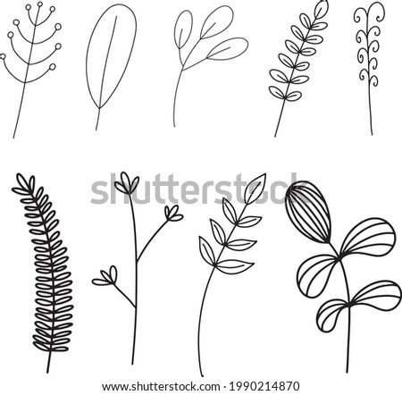 Hand-drawn flower and branches doodle vector illustration for design