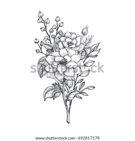 hand drawn flower bouquet in