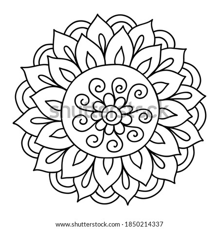 Hand drawn flower doodle element for photo book decoration. Simple floral doodle icon. Mehendi henna tattoo doodle style. hand drawn mandala Stockfoto ©