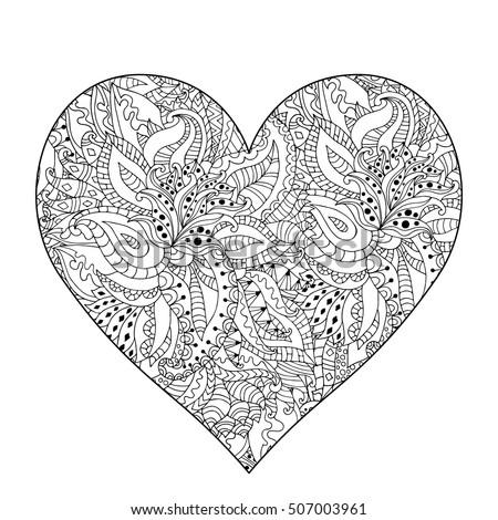 hand drawn flower heart for