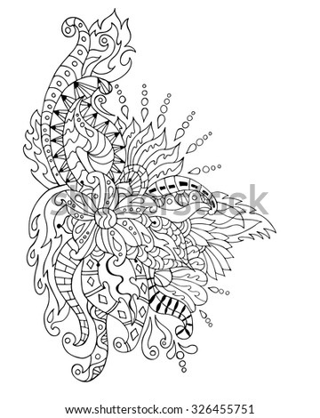 Hand Drawn Flower Ornament Coloring Page Coloring Book
