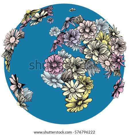 hand drawn flowering earth