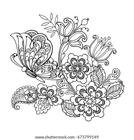 hand drawn flowers and