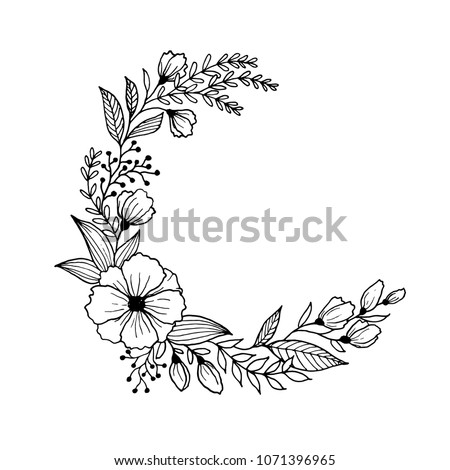 Hand drawn flowers and leaves line art. Freehand sketching plants illustration black and white background for greeting card #1071396965