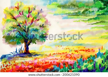 hand drawn flowers and tree