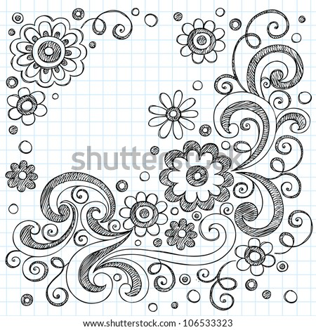 Hand-Drawn FLowers Back to School Sketchy Notebook Doodles- Vector Illustration Design Elements on Lined Sketchbook Paper Background