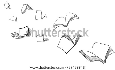 hand drawn flying books in vector