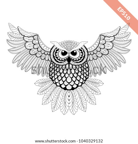 Hand Drawn Flying Ornate Doodle Owl Design For Coloring Page Tattoo Poster