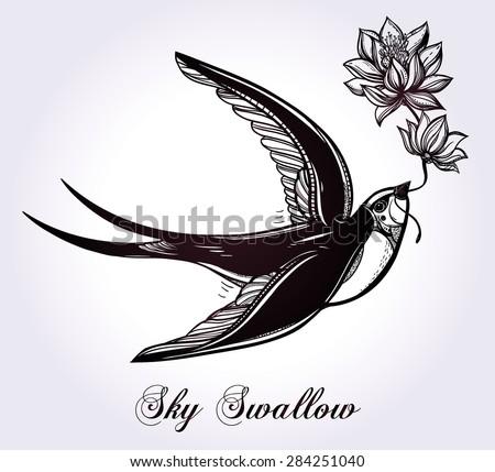 hand drawn flying swallow bird