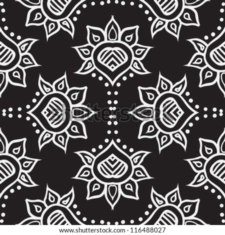 hand drawn folk ethnic ornament, with thick lines and stylized flowers, very detailed, in black and white for spring fashion, seamless fabric texture, vector background