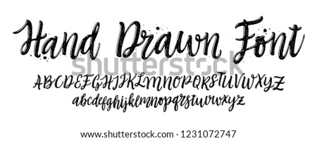 Hand drawn font. Calligraphy decorative ABC alphabet isolated on white background. Hand lettering and custom typography for your designs: logo, poster, card, etc. Texture letters. Vector typeface.
