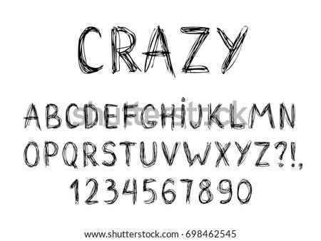 hand drawn font crazy pen