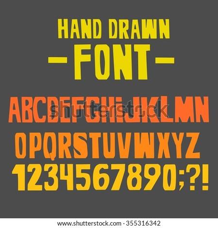 hand drawn fontvector