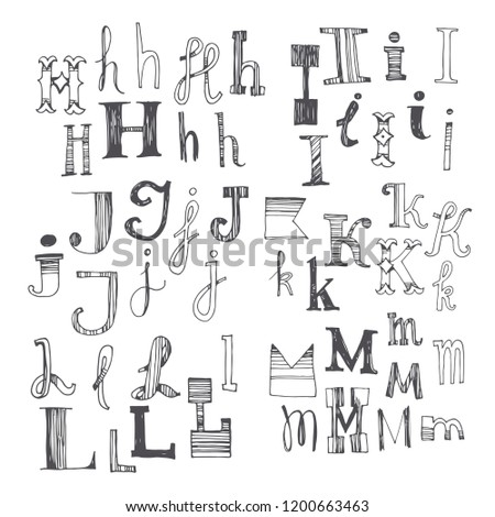hand drawn font with several
