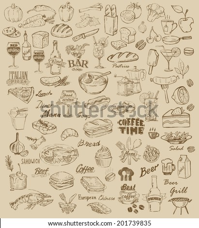 hand drawn food and meal on beige