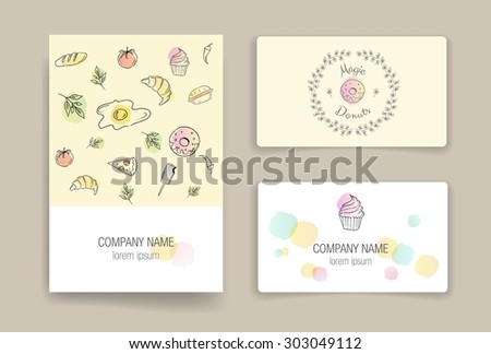 Kitchen business card vectors download free vector art stock hand drawn food cards business card doodle set invitation food posters set reheart Image collections