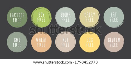 Hand drawn food dietary label set. Natural pastel color on grunge circle background. Fat free, GMO free, gluten free, nitrates, sugar free and others.