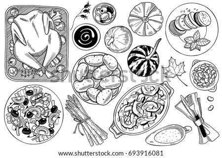 hand drawn food doodles