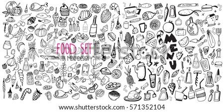 hand drawn food elements set