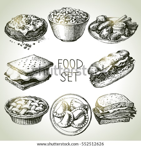 hand drawn food sketch set of