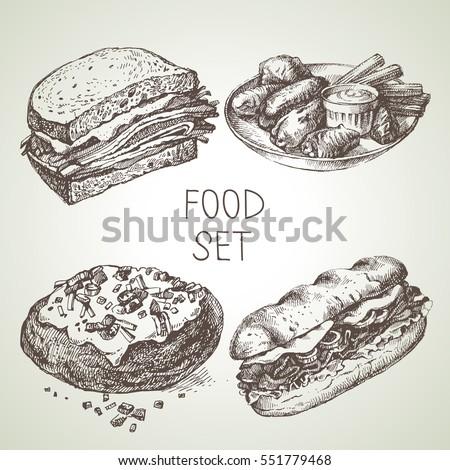 hand drawn food sketch set of