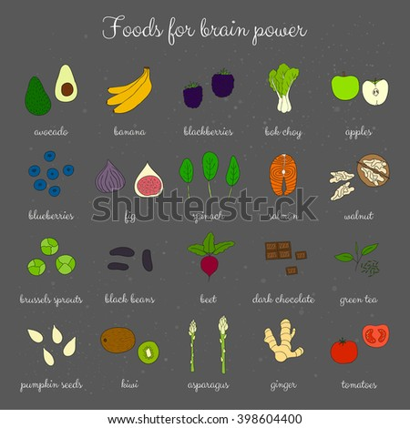 hand drawn foods for brain