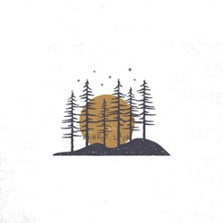 Hand drawn forest with sun concept. Pine trees textured vector illustration with stars. Isolated on white background. Perfect for camping, adventure logo or badges