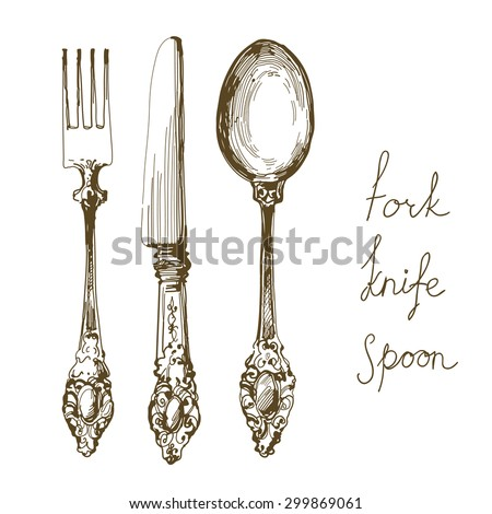 hand drawn fork, knife and spoon ornate