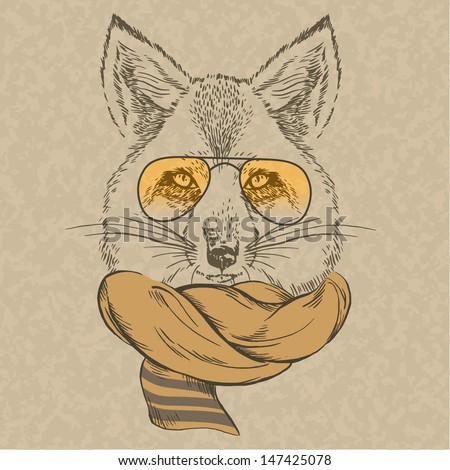 hand drawn fox portrait in glasses and scarf, autumn look - stock vector