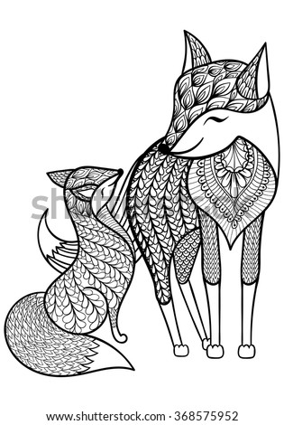 Hand Drawn Fox With Young Child Pattern For Adult Coloring ...