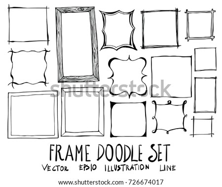Hand drawn frame isolated. Vector sketch black and white background illustration icon doodle
