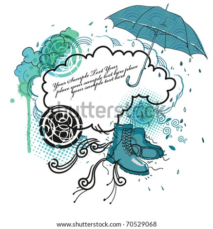 hand drawn frame with boots, clouds and abstract elements