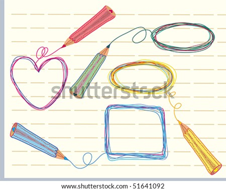 Hand drawn frames and pencils color doodle