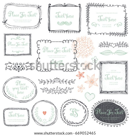 Hand drawn frames, flowers, floral dividers and design elements. Vector illustration.