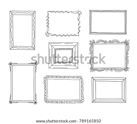 Hand drawn frames set. Cartoon style. Vector.