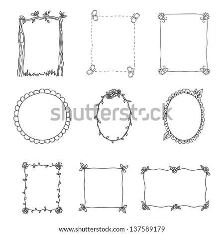 Hand Drawn Frames. Set 2. Vector Illustration