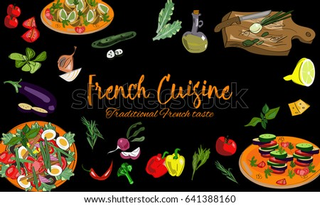 hand drawn french cuisine