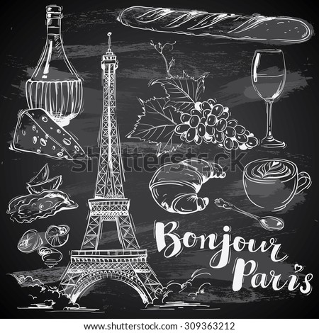 hand drawn french food on
