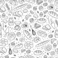 Hand drawn fresh bakery pattern. Seamless vector background.